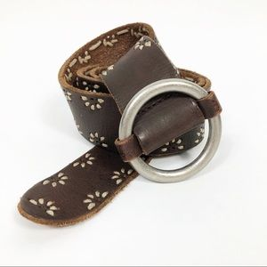 Brown Leather Circle Buckle Embroidered Belt Large